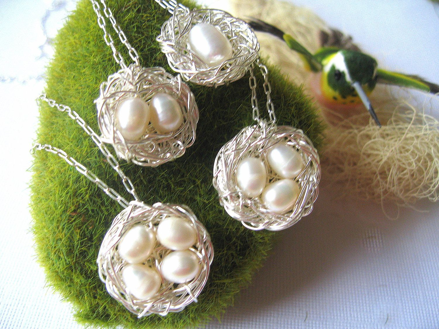 Momma Bird nest necklace with pearls, personalized gifts for mom, mothers day, sterling silver chain. $44.00, via Etsy.