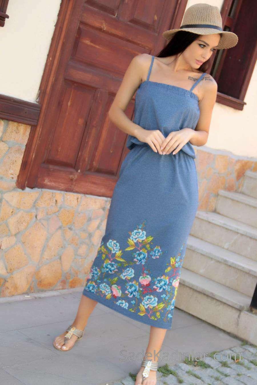 2020 Gunluk Elbise Modelleri Mavi Uzun Askili Cicek Desenli Elbise Modelleri Uzun Elbise Elbise