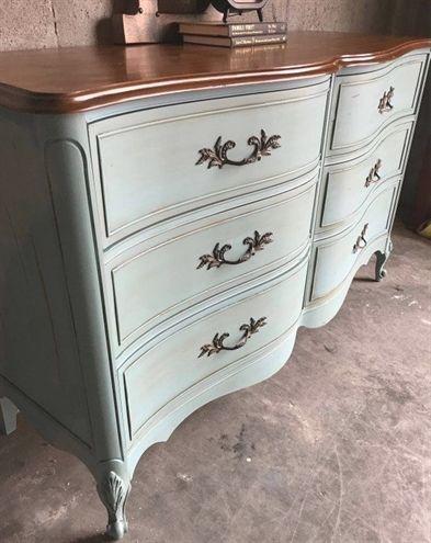French Provincial Dresser/ Duck Egg Blue/ Antique Dresser/ Bedroom Furniture