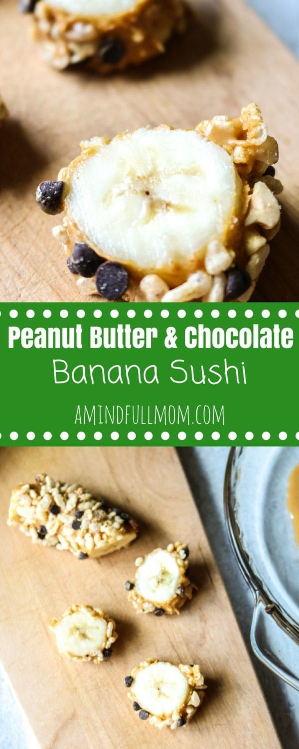 Chocolate Peanut Butter Banana Sushi: Bananas are coated in peanut butter and dipped into a crunchy coating for a fun kid-friendly dessert Sushi.  #glutenfree #kidfriendly #healthydessert #fruit #chocolate #peanutbutter #dessertsushi