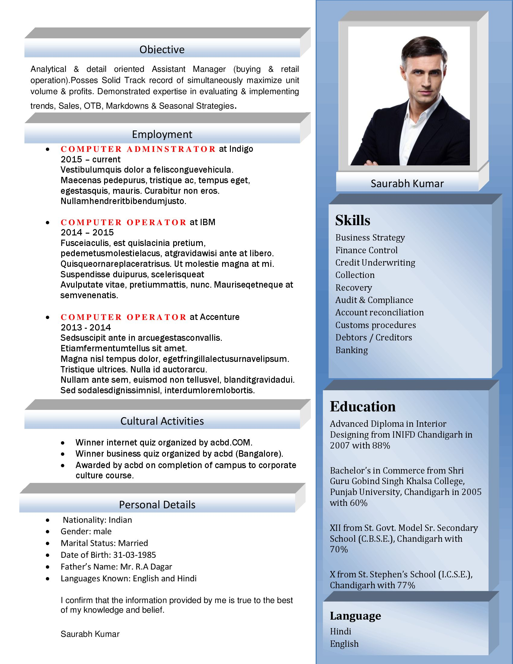 cv format for hr executive
