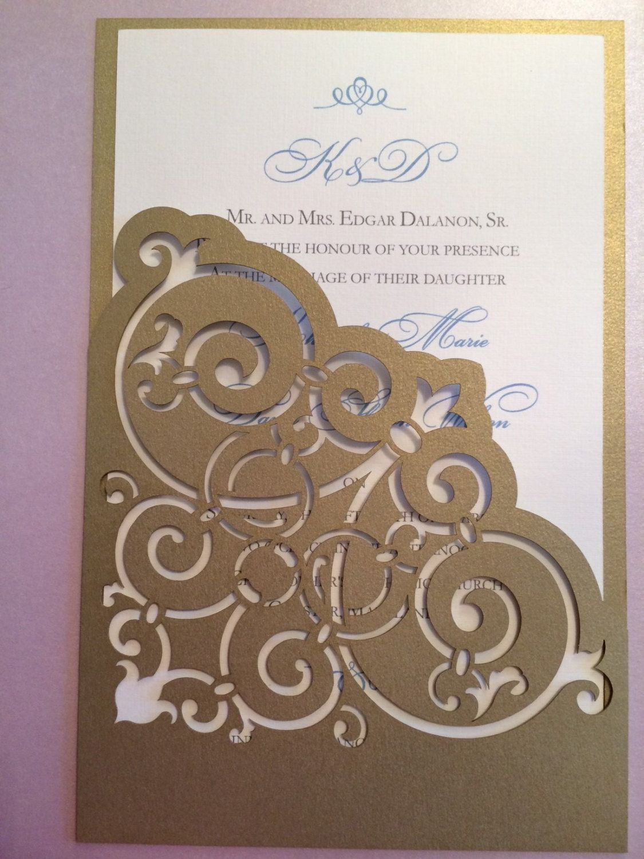 Lasercut Wedding Invitation Sleeve Pocket - Wrought Iron Scroll ...