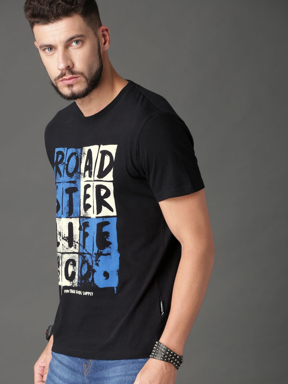 c64b7a77a6ca Buy Roadster Men Black Printed Round Neck T Shirt - Tshirts for Men 8240301  | Myntra