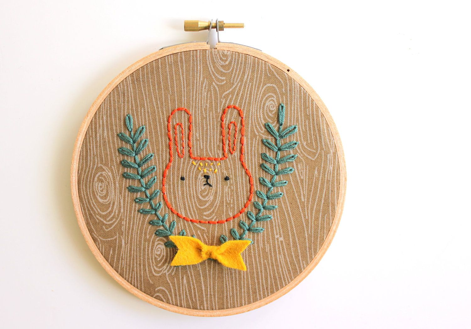Faux Bois Camping Bunny - Hand Embroidered Wall Art - Made to Order