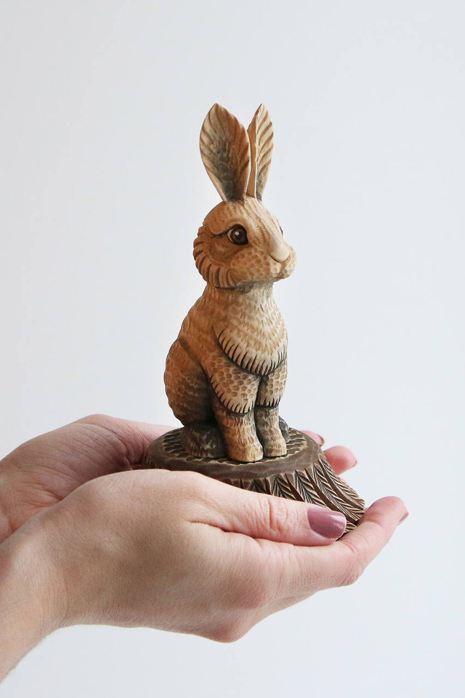 Wooden rabbit figurine, Rabbit lover gift, Wood carving art Wood ...