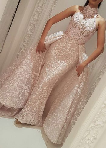 36b0c43d80ab Evening Formal Dresses Yousef Aljasmi High Neck Detachable Over Skirt 2018 Lace  Dubai Arabic Mermaid Occasion Prom Dress See Through
