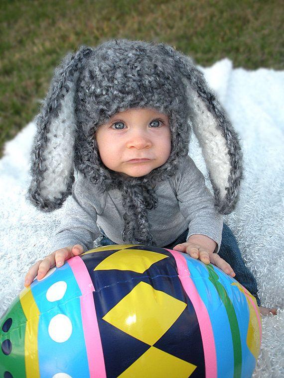 Baby Hasen Mütze mit Schlappohren Neugeborenen von PhotoPropDesigns ...
