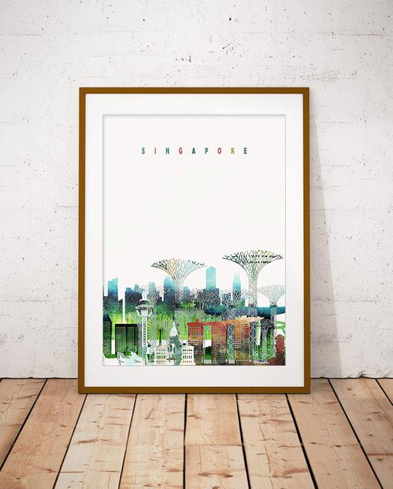 Singapore Print, Skyline Art Print, Poster, Modern Wall Art, New