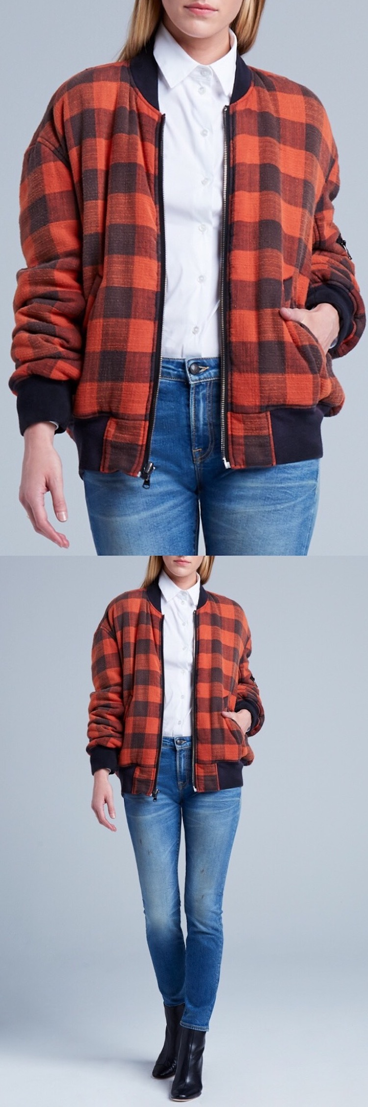 Flannel and denim jacket outfit  Reversible Double Plaid Flight Jacket  Plaid jacket Fall fashion