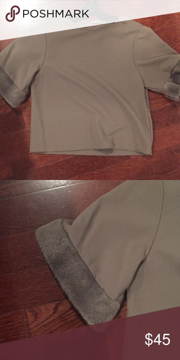 5adb8b1e Zara top size Small New Zara top with faux fur on sleeve. Cute top ...