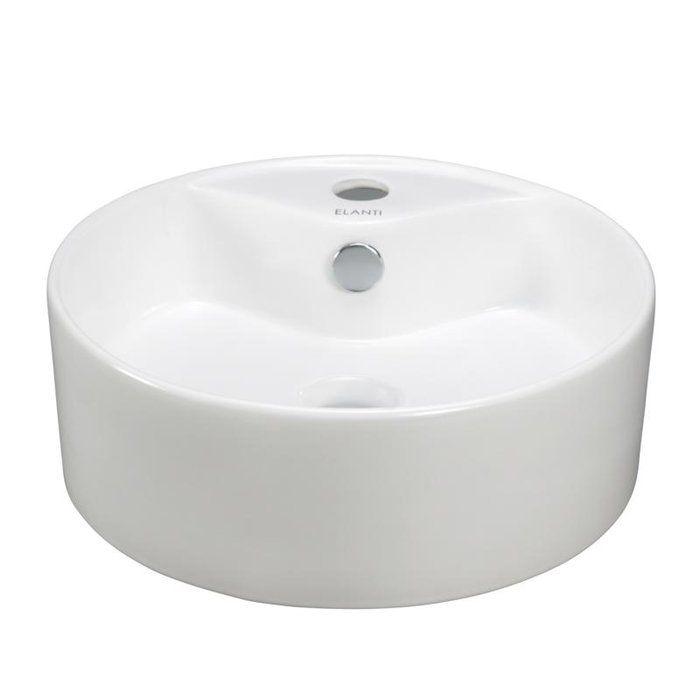 Ceramic Circular Vessel Bathroom Sink White Vessel Sink Bowl Sink Sink
