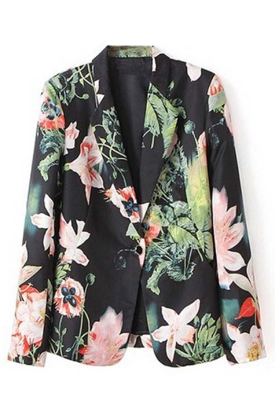 Stylish Floral Slim Blazer
