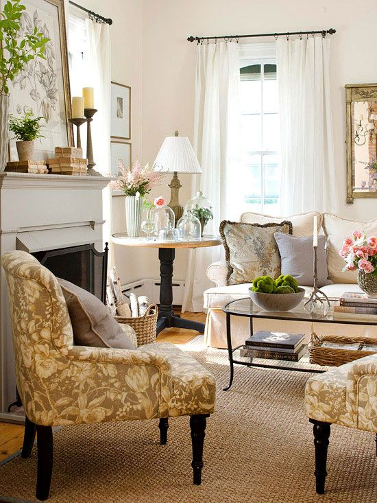 Romantic Style Living Rooms: Take Five: Country Cottage French