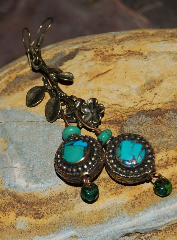 Indian turquoise & brass bead on flower stem by solagratiadesigns, $15.00