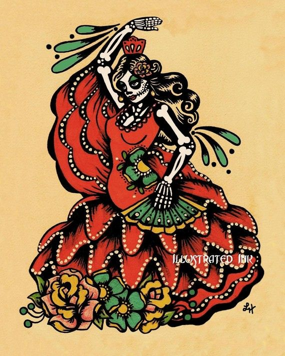 Day Of The Dead Spanish Dancer FLAMENCO Art Dia De Los Muertos Print 5 X 7 8 10 Or 11 14