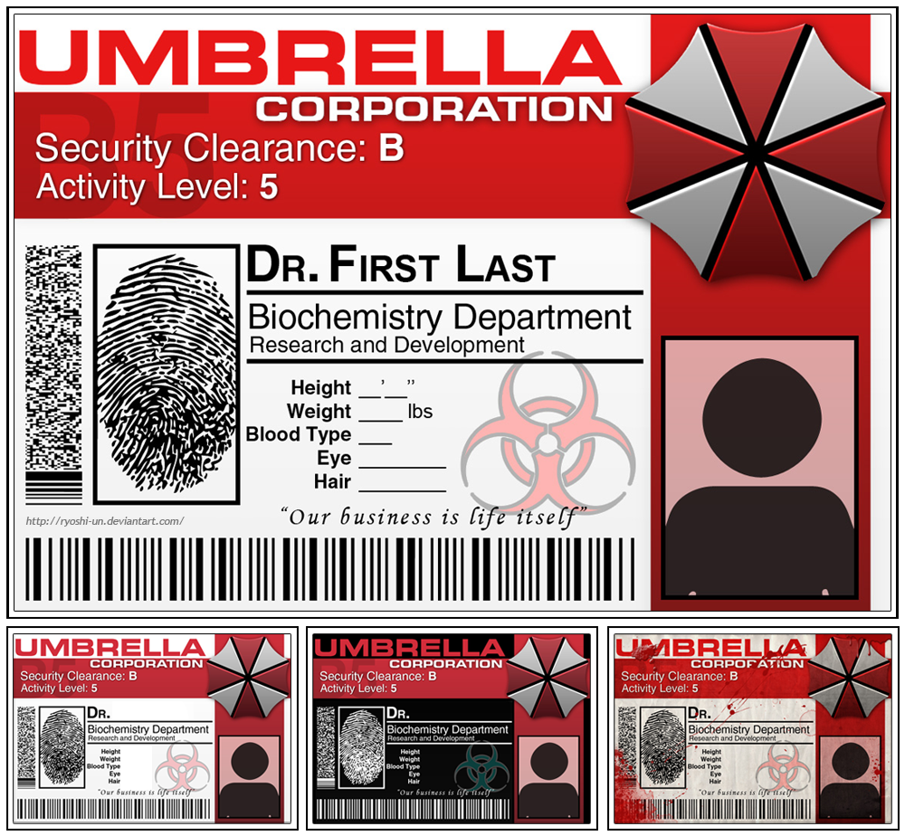 Umbrella Corp Id Tag By RyoshiUn On Deviantart  Cosplay Id Card