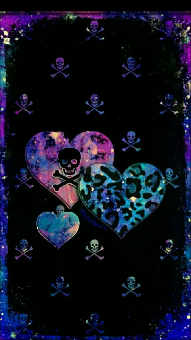 Skull heart galaxy iPhone/Android wallpaper I created for ...