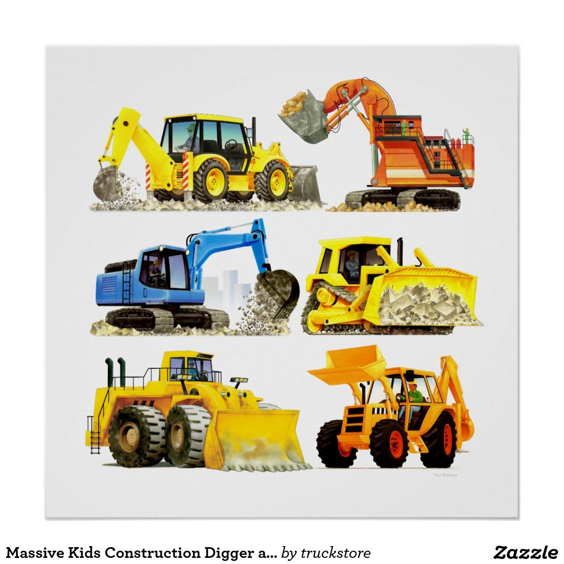 massive kids construction digger and excavator poster car