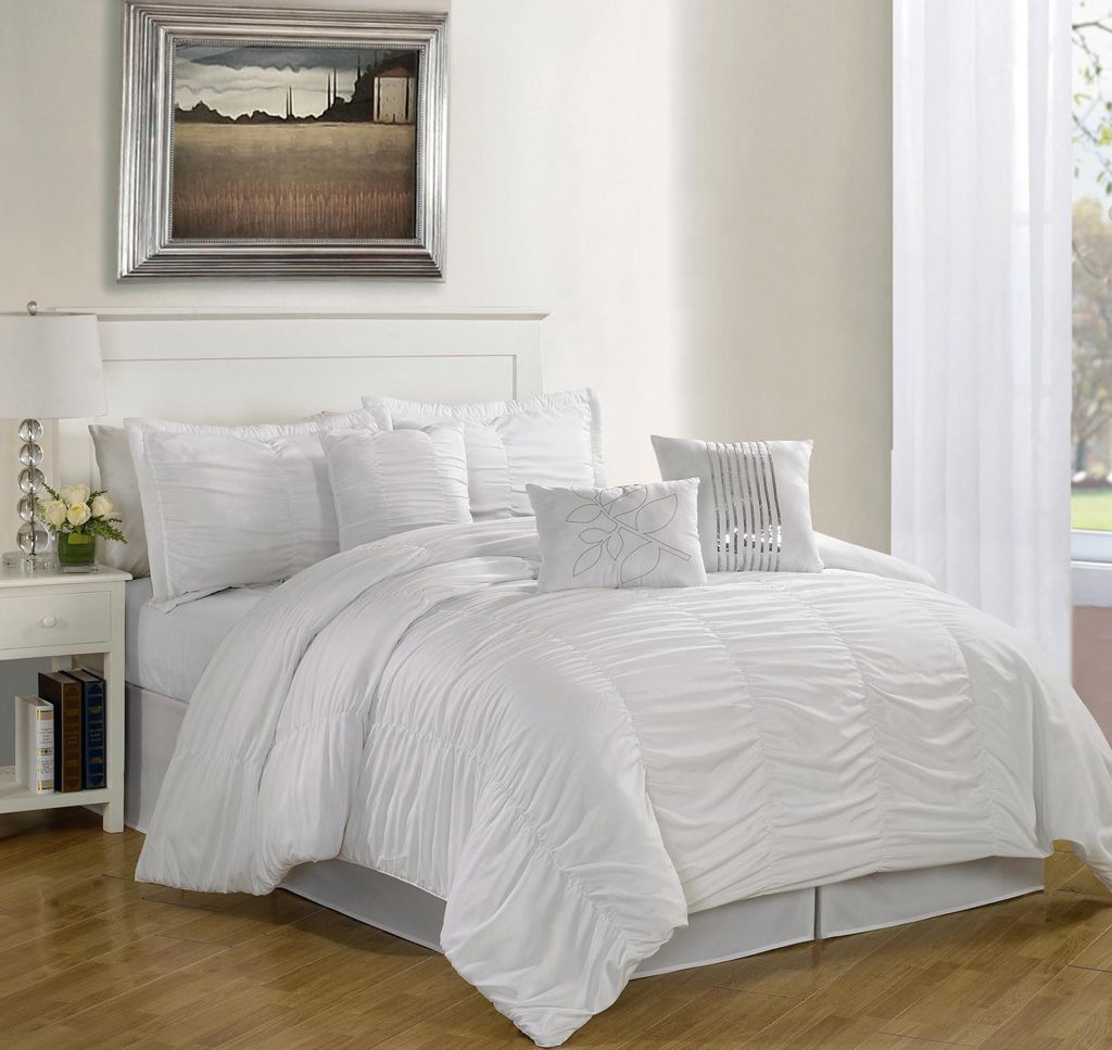 White queen bed set - 7 Piece Queen Hermosa Ruffled Comforter Set White