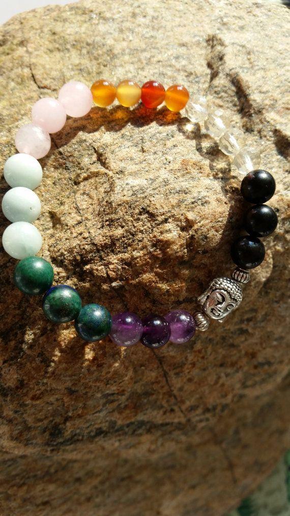 Handmade stretch bracelet seven chakras and by RainbowReikiMJ