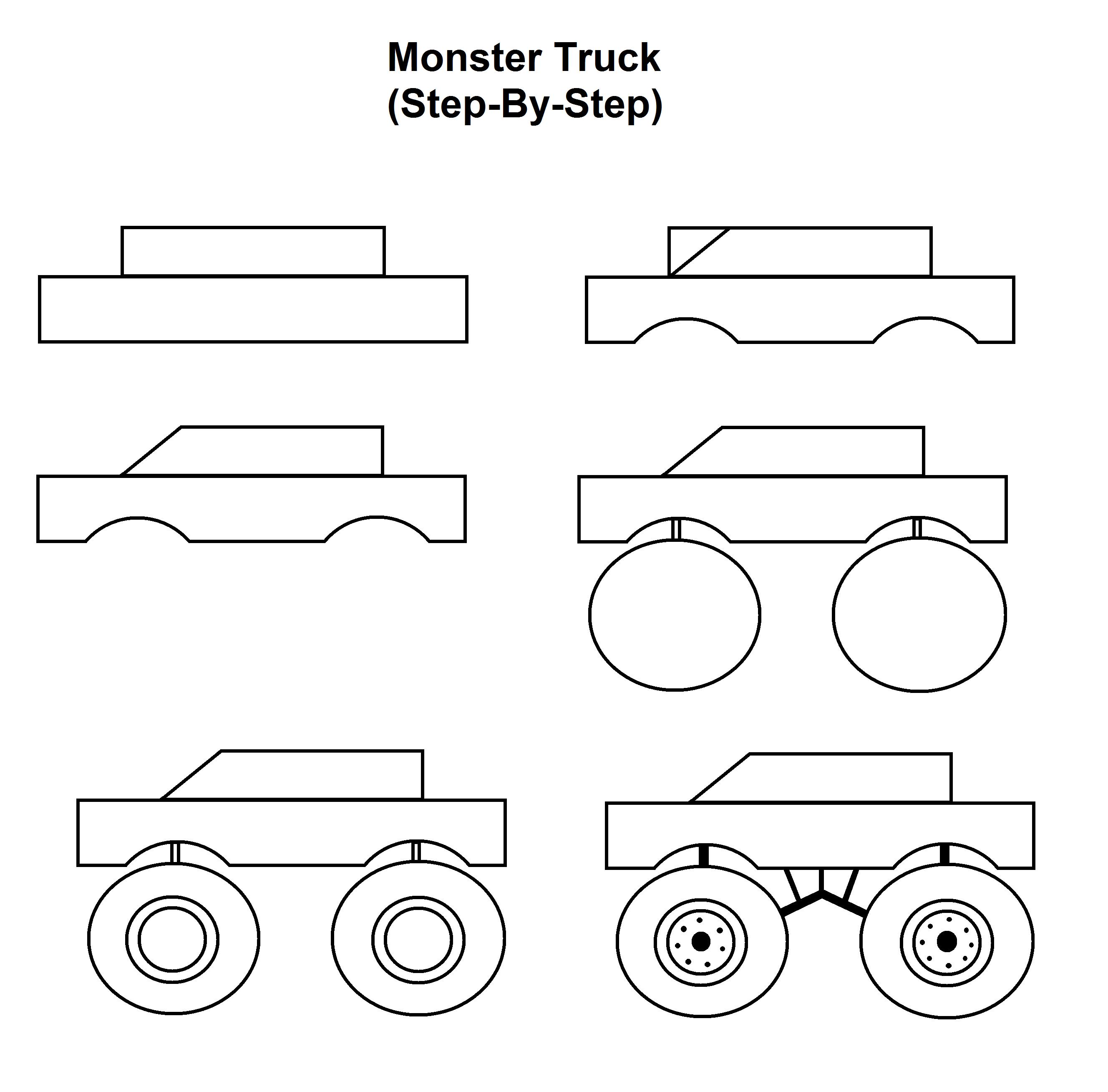 Monster Truck Step By Step Tutorial Monster Truck Drawing Easy Drawings Monster Drawing