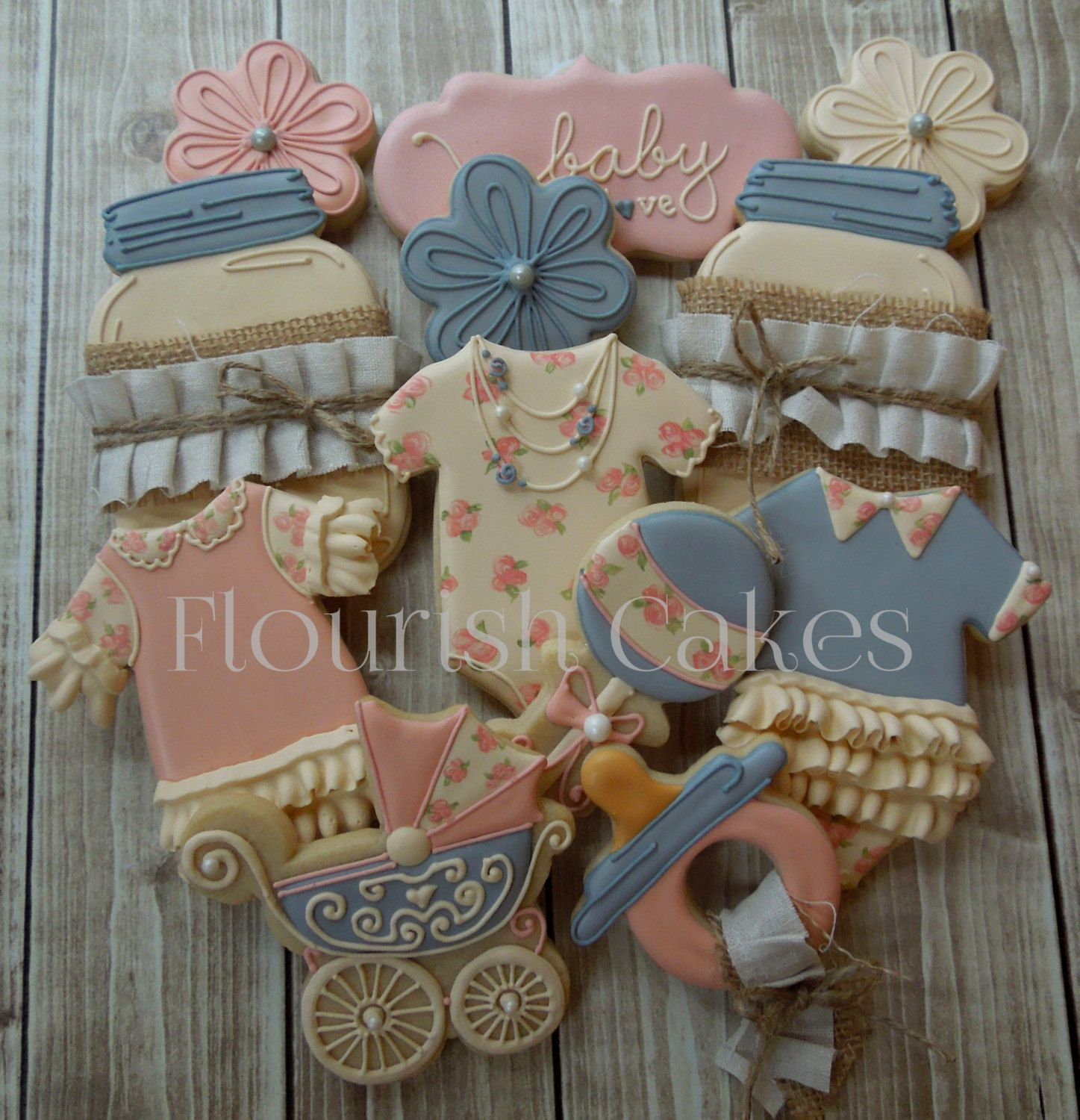 Baby Shower Cookies by FlourishCakes pink blue ivory shabby
