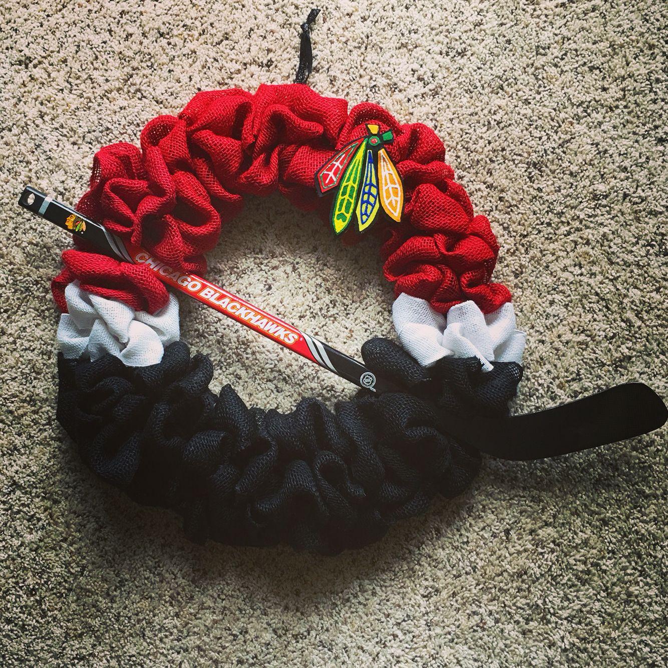 Chicago Blackhawks Burlap Wreath. Handmade burlap wreath with a mini ...