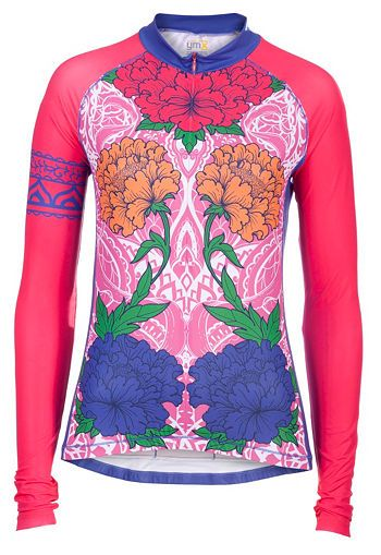 Women s Athletic Apparel  Garden Henna-coral L Slv Tri-Sport Jersey -  Womens Cycling Tops and Sports Clothes 82c4bd317