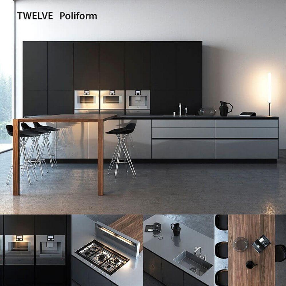 Poliform varenna twelve kitchen 3d model price render rendering 3dmodels vray design 3dmodel 3dart photoshop cgsouq render 3dvisualization