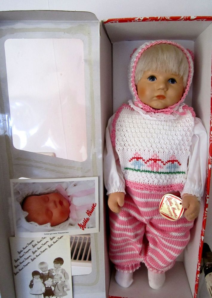 "Rarität Käthe Kruse Puppe ""Du Mein"" 1994 OVP rosa weiß gestr.Handarbeit  so süß"