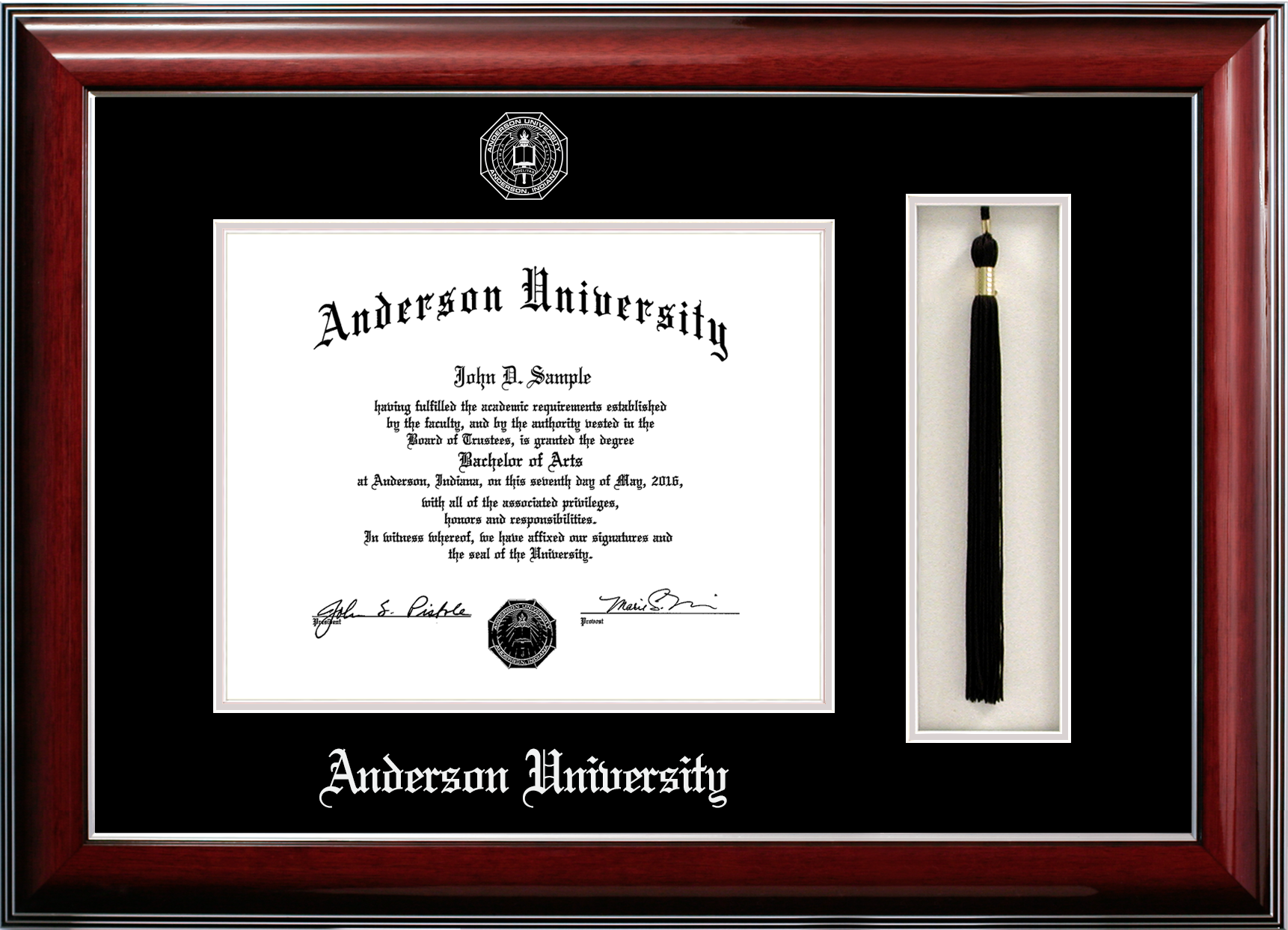 Anderson University Diploma Frame With Tassel Diploma Frame Anderson University Graduation Frame