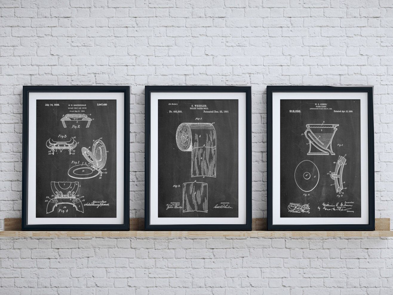 Bathroom Art Patent Posters Group Of 3 Wall Decor Toilet Seat