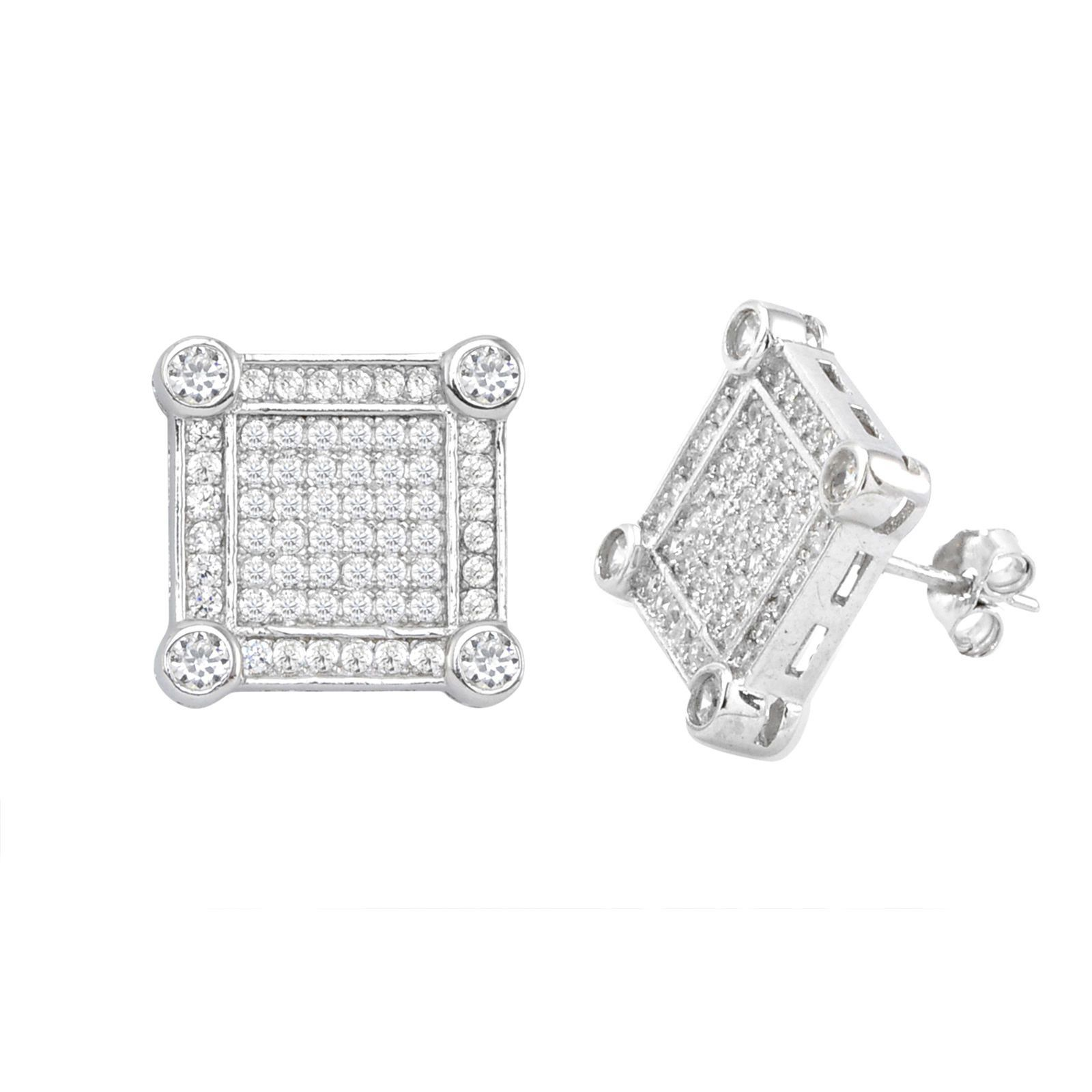 efdbd2240 Earrings Square CZ Micro Pave Cubic Zirconia Black White Kite Stud For Men  For Women Stud Earrings 925 Sterling Silver 9mm