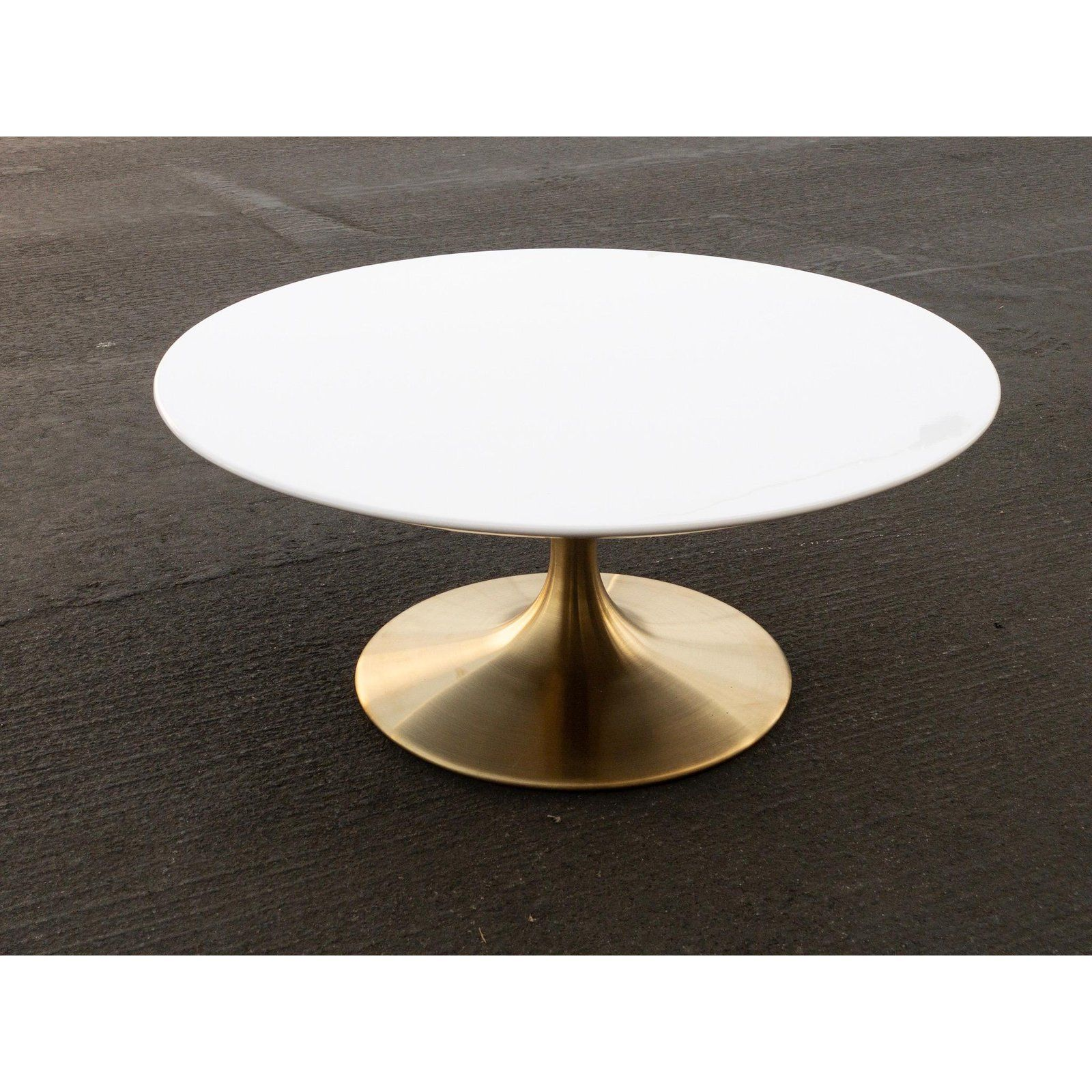 Mid Century Modern Tulip Coffee Table With Gold Base For Sale Image 4 Of 4 Tulip Coffee Table Coffee Table Marble End Tables [ 1600 x 1600 Pixel ]