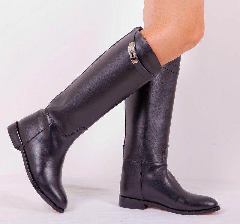 6233a678e473 Сапоги Hermes из натуральной кожи черного цвета с пряжкой (кожаные сапоги  Гермес)