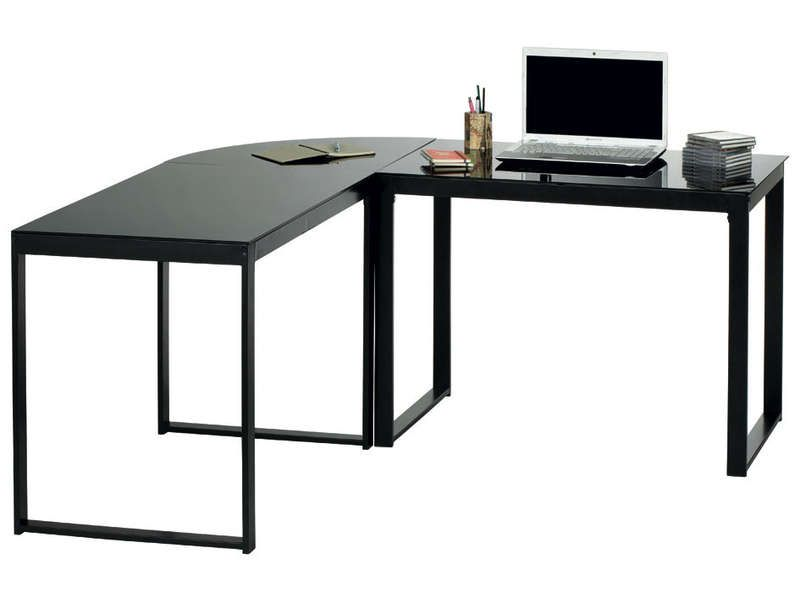 Bureau d 39 angle blacky coloris noir vente de bureau for Meuble d angle conforama
