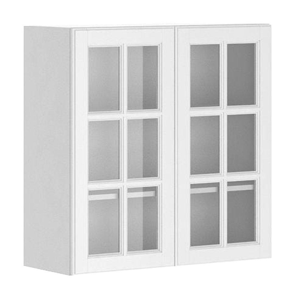Eurostyle 30x30x12 5 In Birmingham Wall Cabinet In White Melamine And Glass Doo Glass Cabinet Doors Glass Kitchen Cabinet Doors Glass Fronted Kitchen Cabinets