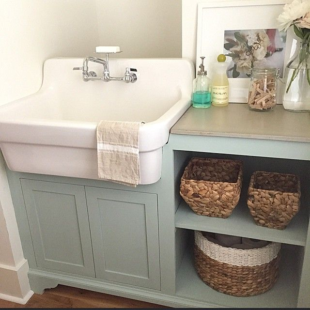 Love This Laundry Sink And Green Cabinets With Images Laundry