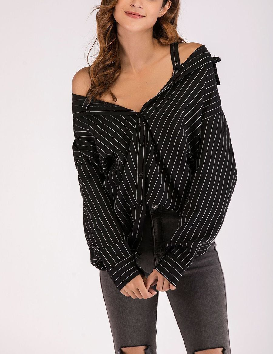 da8790855df 2019 NEW CHARLOTTE's Irresistible Off-Shoulder Top with Big Shirt Styling