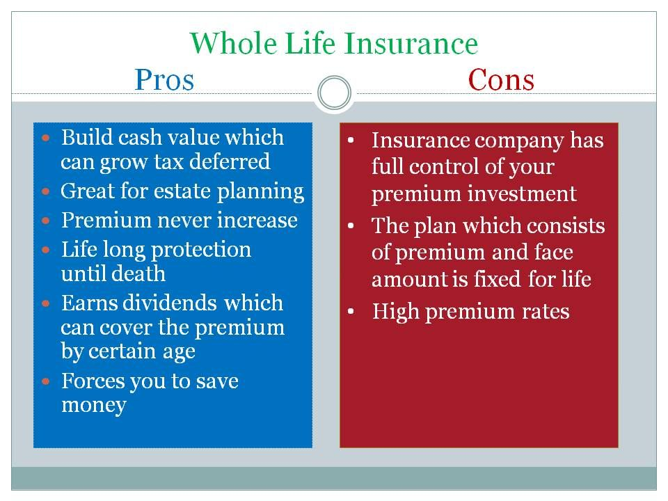Pros and cons of whole life insurance life insurance