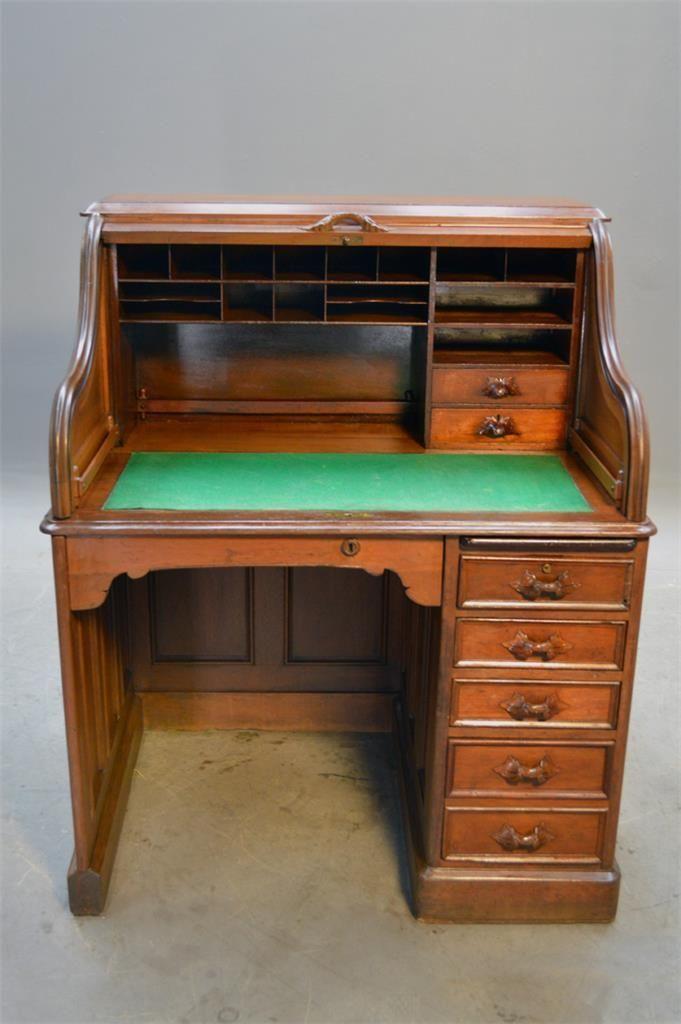 16865 Antique Victorian ladies Roll Top Desk - Civil War Era - 16865 Antique Victorian Ladies Roll Top Desk Civil War Era EBay