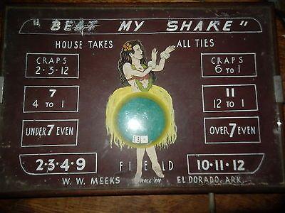 Vintage Casino El Dorado Arkansas Table Top Over Under Dice Craps Game Glass Top