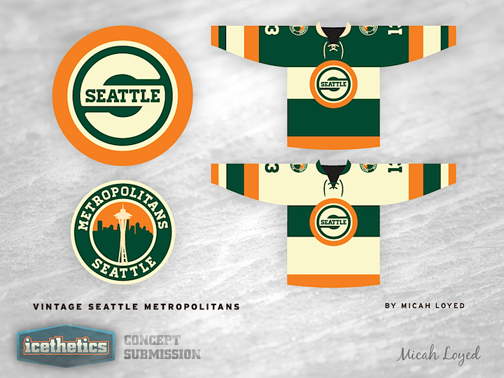 0075 Vintage Seattle Seattle, Ice hockey jersey, Nhl logos