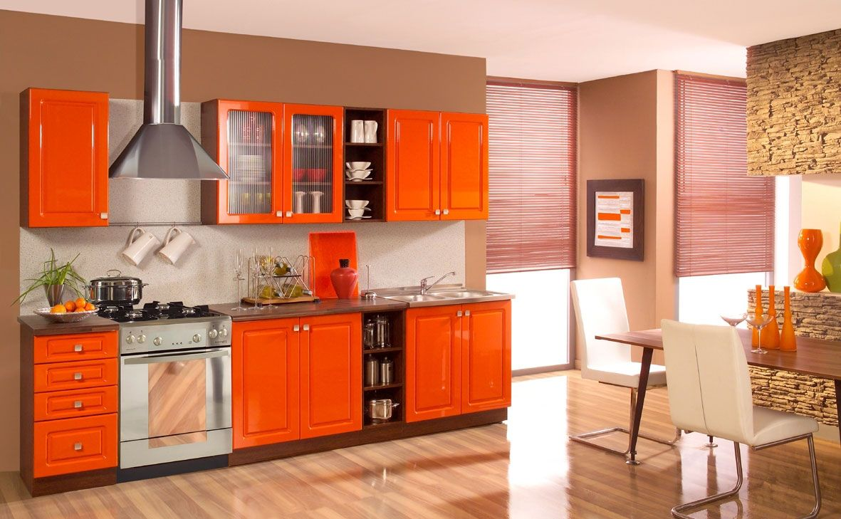 Kitchen Design Orange Beauteous Stunning Orange Kitchen Cabinets With Mosaic Backsplash Furnished Review