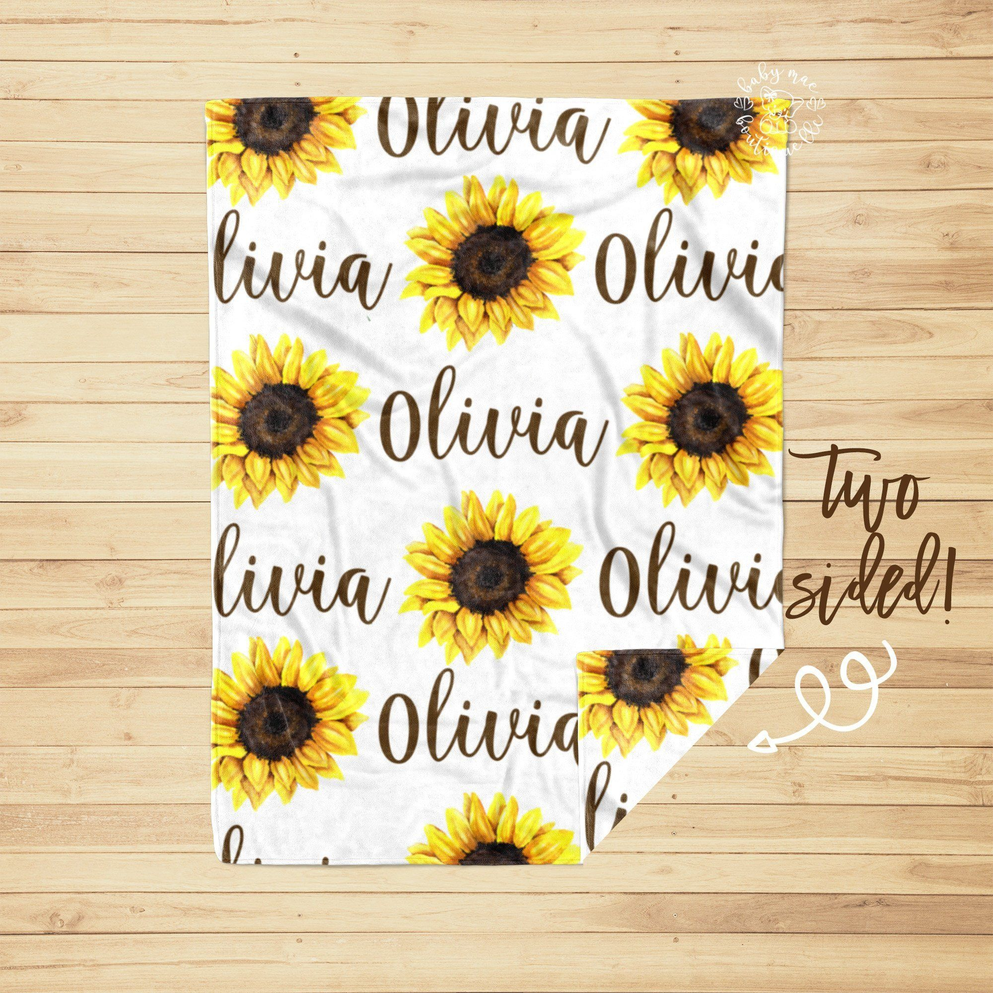Photo of Sunflower Baby Girl Blanket and Crib Sheet / Personalized Newborn Swaddle / Baby Shower Gift / Monogram Hospital Blanket