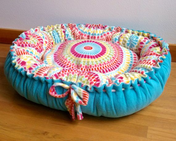 Fleece Dog Bed in Teal and Multi-Color - Medium