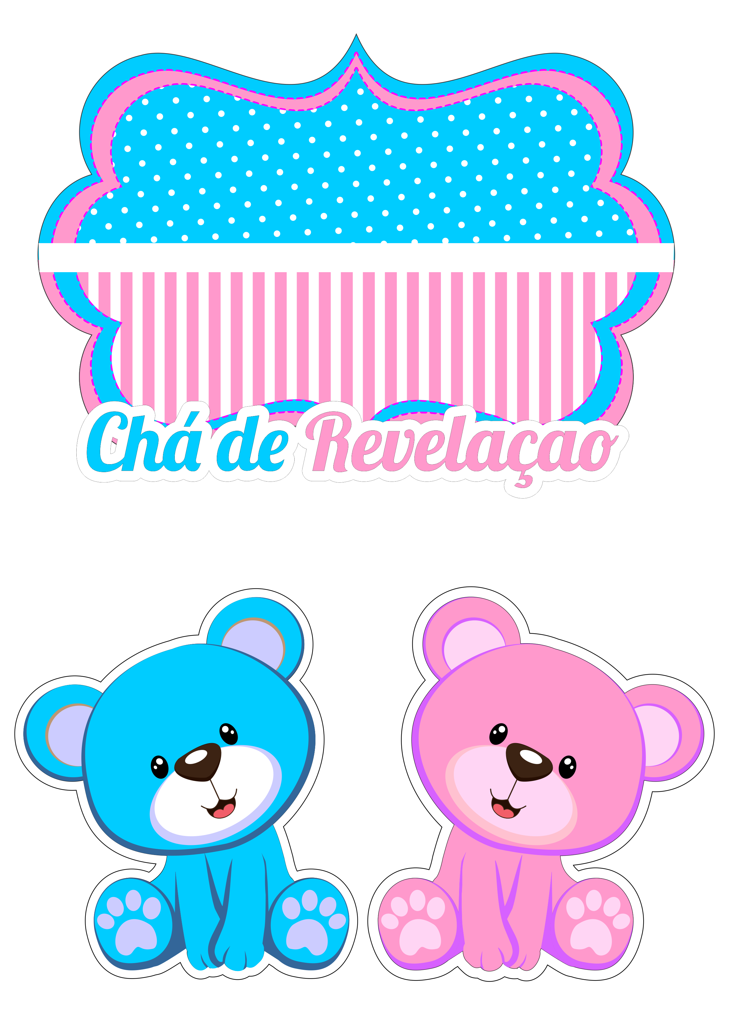 Lindo topo de bolo ursinho azul e rosa pra chá de ...