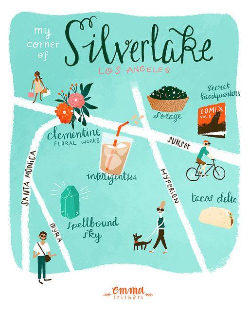 Silverlake Los Angeles Map.My Corner Of Silverlake Emma Trithart Illustration Pinterest