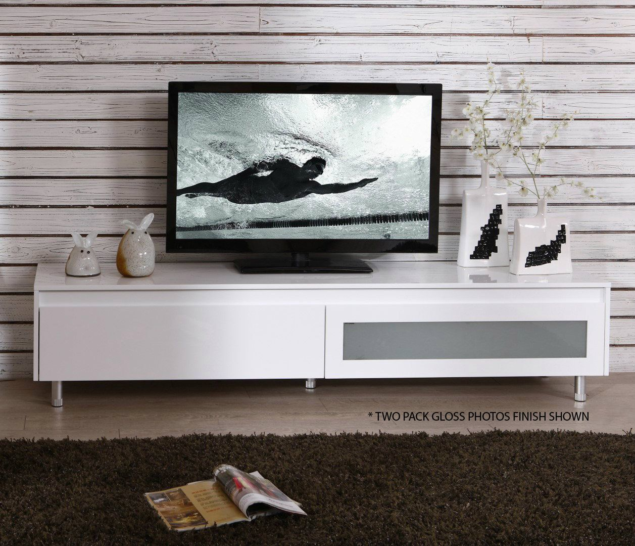 Superior FREE SHIPPING   London 2.0m Satin White Lowline TV Entertainment Unit   JUST  MODERN FURNITURE