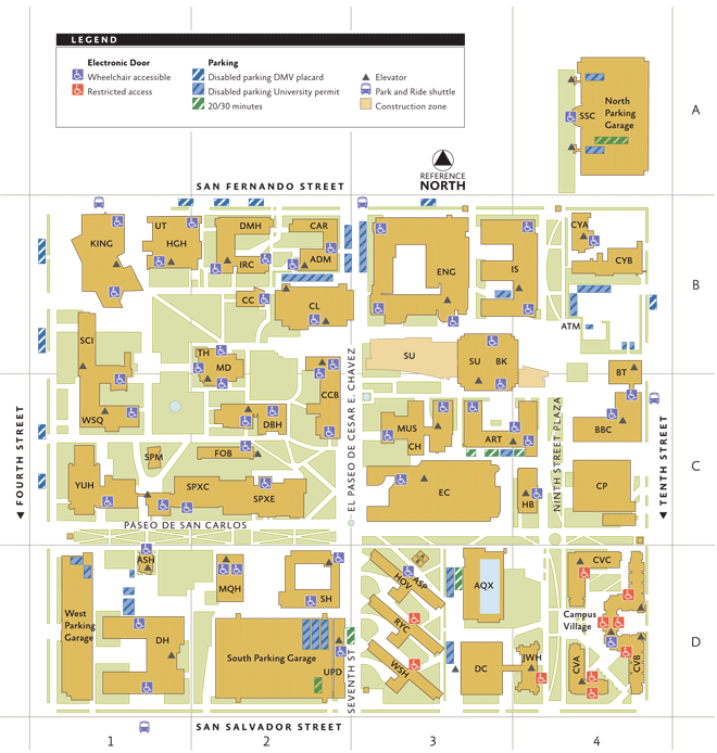 map of sjsu campus Sjsu Campus Map Enrollment Services Is Located On The First map of sjsu campus